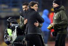 Montella and Lapadula during Empoli-Milan at Stadio Carlo Castellani on the 26th of November 2016. (Photo by Gabriele Maltinti/Getty Images)
