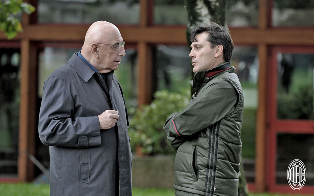 Galliani and Montella during training at Milanello (@acmilan.com)
