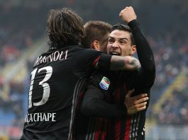 Mario Pasalic celebrates his goal with Mattia De Sciglio and Alessio Romagnoli during Milan-Crotone at Stadio San Siro on the 4th of December 2016 (Photo by Marco Luzzani/Getty Images)