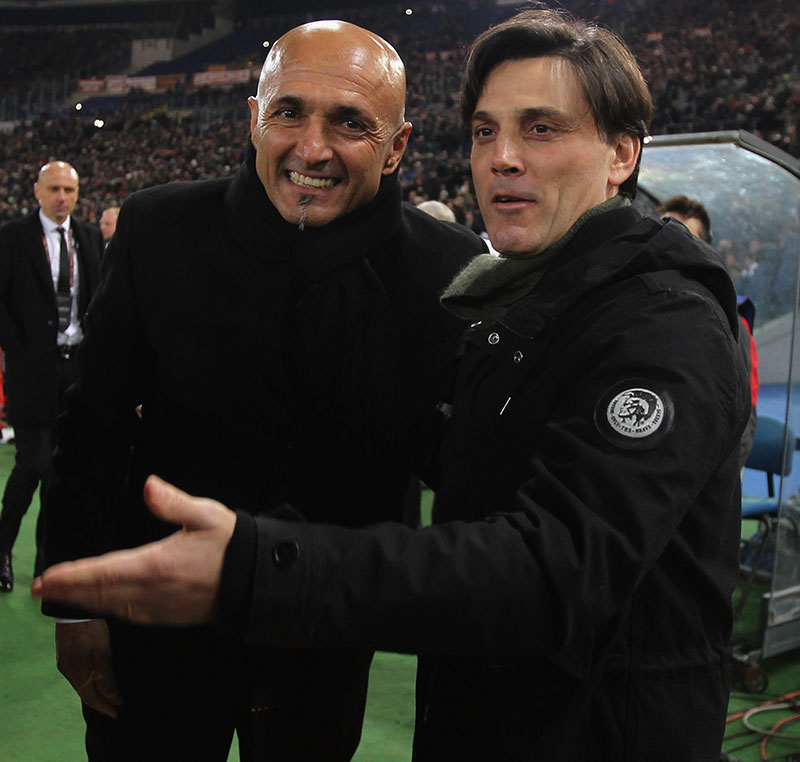 Vincenzo Montella and Luciano Spalletti before Roma-Milan at Stadio Olimpico on the 12th of December 2016. (Photo by Paolo Bruno/Getty Images )
