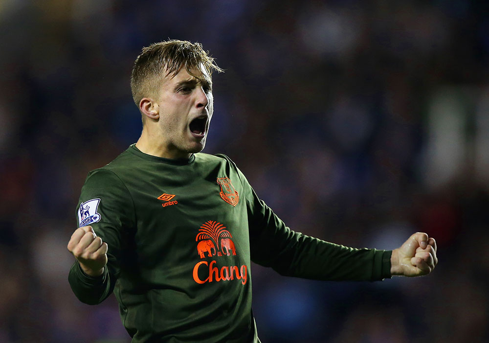 Gerard Deulofeu celebrates after scoring during the Capital One Cup third round match between Reading and Everton at Madejski Stadium on September 22, 2015. (Photo by Ben Hoskins/Getty Images)