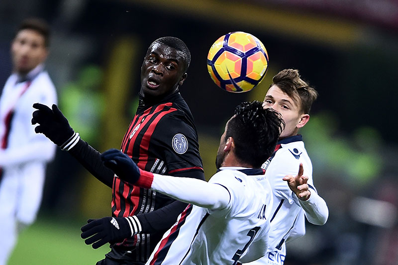 Niang during Milan-Cagliari at Stadio San Siro on the 8th of January 2017 (FILIPPO MONTEFORTE/AFP/Getty Images)