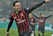 Giacomo Bonaventura celebrating after scoring during Milan-Torino at Stadio San Siro on the 12th of January 2017 (@acmilan.com)