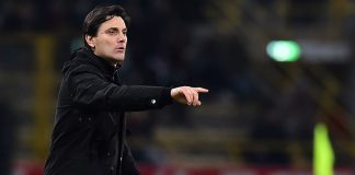 Vincenzo Montella during Bologna-Milan at Stadio Renato Dall'Ara on the 8th of February 2017 (GIUSEPPE CACACE/AFP/Getty Images)