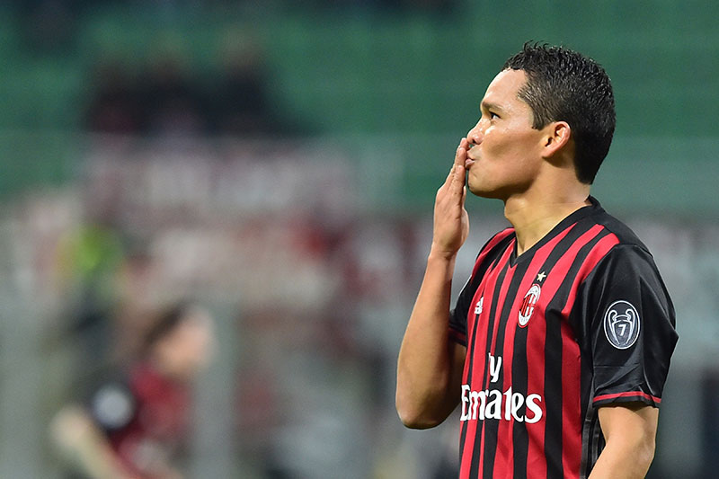 Carlos Bacca celebrating during Milan-Chievo at Stadio San Siro on the 4th of March 2017. (GIUSEPPE CACACE/AFP/Getty Images)