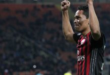 Carlos Bacca celebrating during Milan-Chievo at Stadio San Siro on the 4th of March 2017. (Photo by Marco Luzzani/Getty Images)