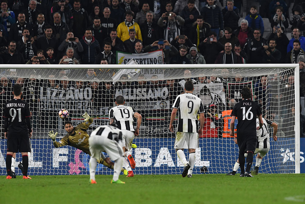 Paulo Dybala scoring the penalty during Juventus-Milan at the Juventus Stadium on the 10th of March 2017. (Photo by Valerio Pennicino/Getty Images)