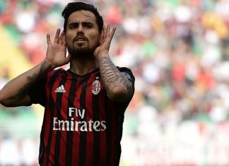 Suso celebrating his goal during Milan-Palermo at Stadio San Siro on the 9th of April 2017. (Photo by Tullio M. Puglia/Getty Images)