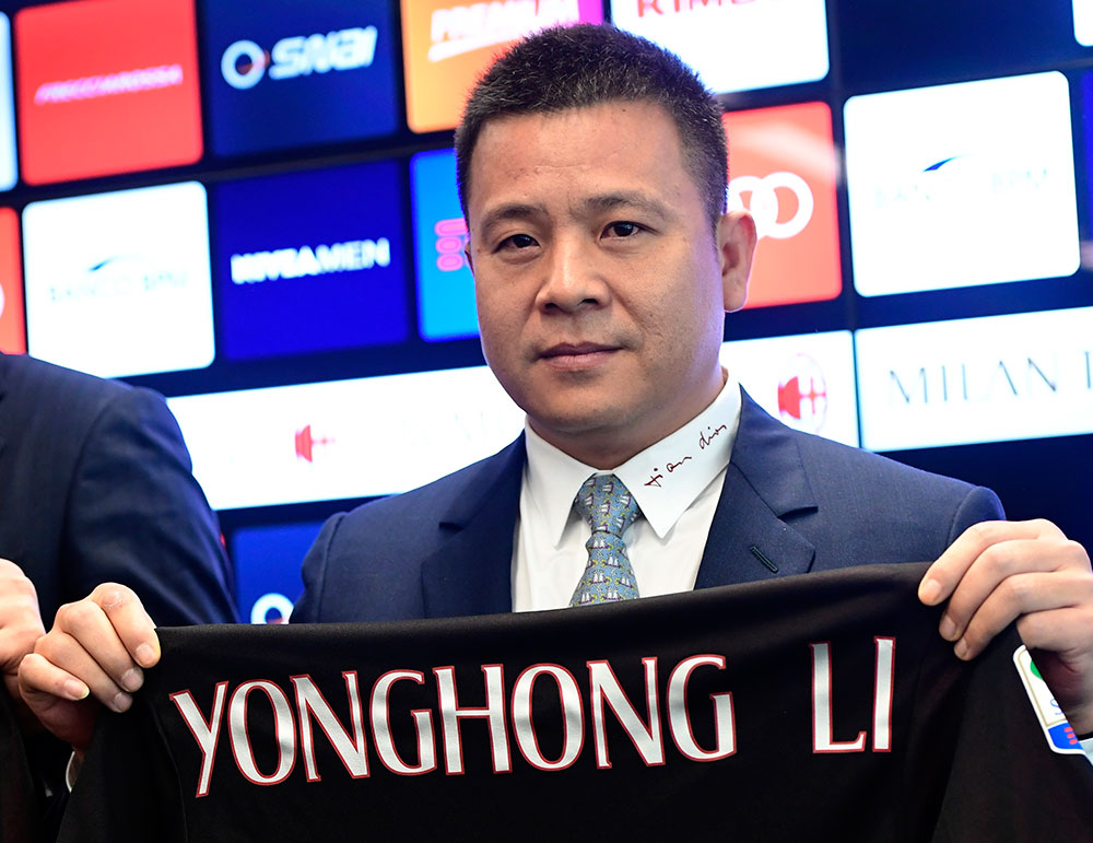 Head of Rossoneri Sport Investment Lux and new owner of Milan, Yonghong Li, during a press conference at Casa Milan on the 14th of April 2017 (MIGUEL MEDINA/AFP/Getty Images)