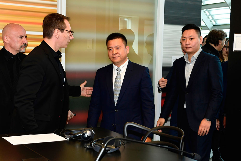 Milan President Yonghong Li and Han Li arriving at Casa Milan for a press conference on the 14th of April 2017. (MIGUEL MEDINA/AFP/Getty Images)