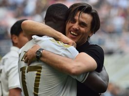 Vincenzo Montella hugging Cristian Zapata at the end of Inter-Milan at Stadio San Siro on the 15th of April 2017. (GIUSEPPE CACACE/AFP/Getty Images)