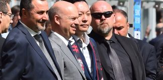 Massimiliano Mirabelli (L), Marco Fassone (C) and Han Li (R) prior to Inter-Milan at Stadio San Siro on the 15th of April 2017. (GIUSEPPE CACACE/AFP/Getty Images)