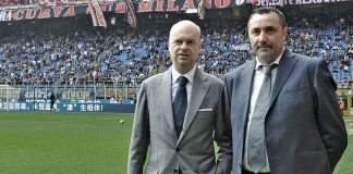Marco Fassone and Massimiliano Mirabelli before Inter-Milan at Stadio San Siro on the 15th of April 2017. (@acmilan.com)