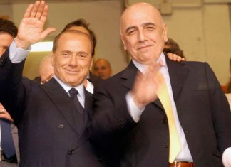 Silvio Berlusconi and Adriano Galliani at the end of Milan-Brescia at Stadio San Siro on the 16th of May 2004. (Photo by New Press/Getty Images)