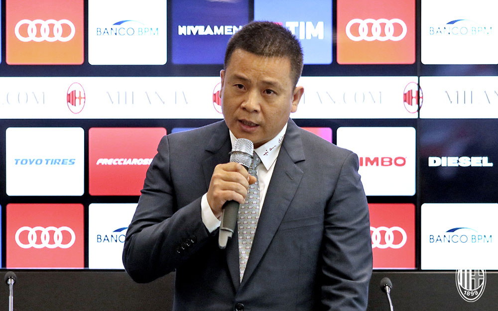 Head of Rossoneri Sport Investment Lux and new owner of Milan, Yonghong Li, during a press conference at Casa Milan on the 14th of April 2017. (@acmilan.com)
