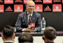 Marco Fassone during a press conference at Casa Milan on the 14th of April 2017. (@acmilan.com)