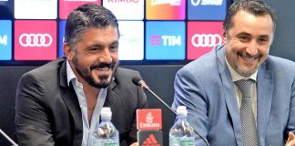 Gennaro Gattuso and Massimiliano Mirabelli during a press conference at Casa Milan on the 26th of May 2017. (@acmilan.com)