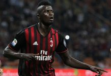 M'Baye Niang celebrates during Milan-Lazio at Stadio San Siro on September 20, 2016. (Photo by Marco Luzzani/Getty Images)