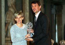 Paolo Maldini and Italian national team footballer Melania Gabbiadini during the Italian Football Federation Hall of Fame ceremony at Palazzo Vecchio on January 17, 2017. (Photo by Gabriele Maltinti/Getty Images)