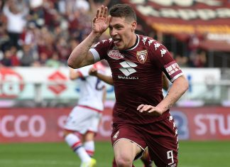 Andrea Belotti celebrates after scoring during Torino-Crotone at Stadio Olimpico di Torino on April 15, 2017. (Photo by Valerio Pennicino/Getty Images)
