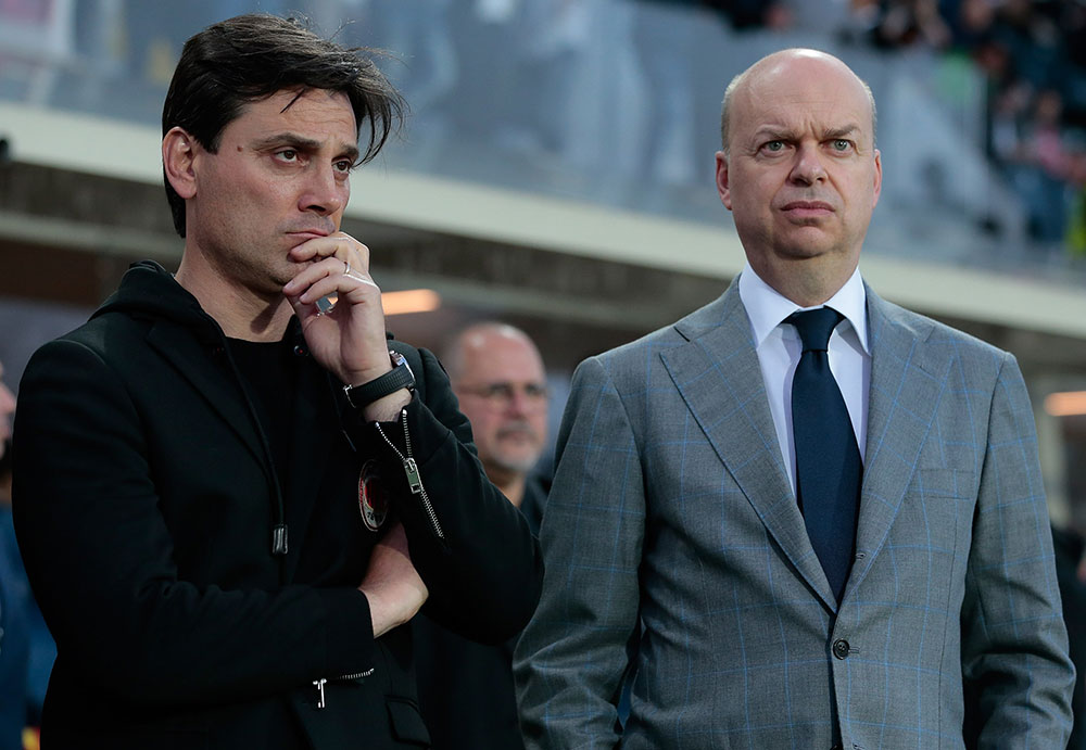 Vincenzo Montella and Marco Fassone before Atalanta-Milan at Stadio Atleti Azzurri d'Italia on the 13th of May 2017. (Photo by Emilio Andreoli/Getty Images)