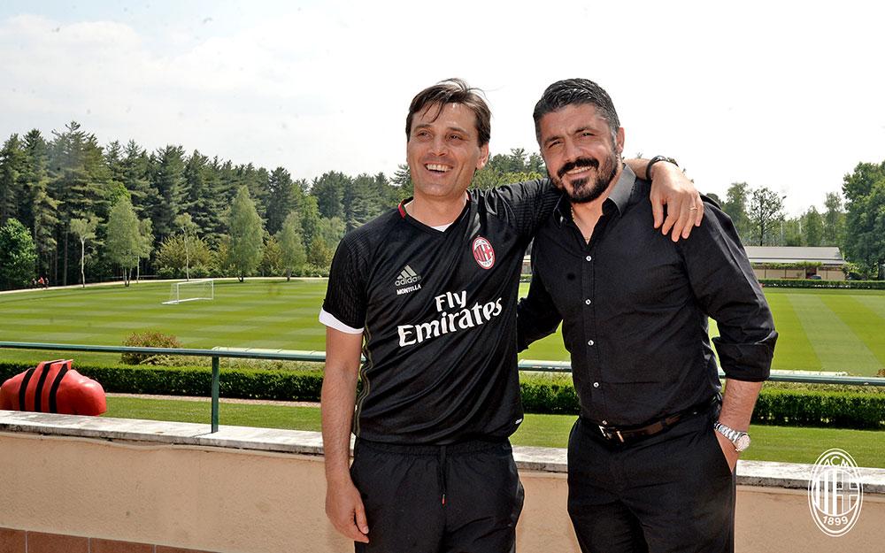 Vincenzo Montella and Gennaro Gattuso at Milanello on May 26, 2017. (@acmilan.com)