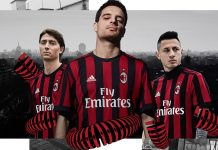 Riccardo Montolivo, Giacomo Bonaventura and Gianluca Lapadula wearing the new 2017/18 home kit. Click to enlarge. (via adidas)