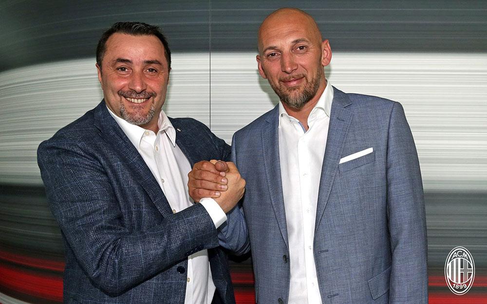 Massimiliano Mirabelli and Christian Abbiati at Casa Milan on the 14th of June, 2017. (@acmilan.com)
