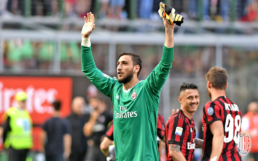 Gianluigi Donnarumma at the end of Milan-Bologna at Stadio San Siro on May 21, 2017. (@acmilan.com)