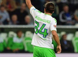 Ricardo Rodriguez celebrates during Wolfsburg-Schalke at Volkswagen Arena on August 28, 2015. Wolfsburg wins 3-0. (JOHN MACDOUGALL/AFP/Getty Images)