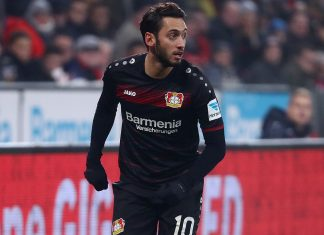 Hakan Calhanoglu during Bayer Leverkusen-Freiburg at BayArena on December 3, 2016. (Photo by Alex Grimm/Bongarts/Getty Images)