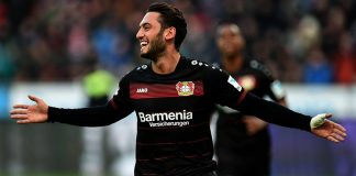 Hakan Calhanoglu celebrates during Bayer Leverkusen-Hertha Berlin on January 22, 2017. (Photo credit should read PATRIK STOLLARZ/AFP/Getty Images)
