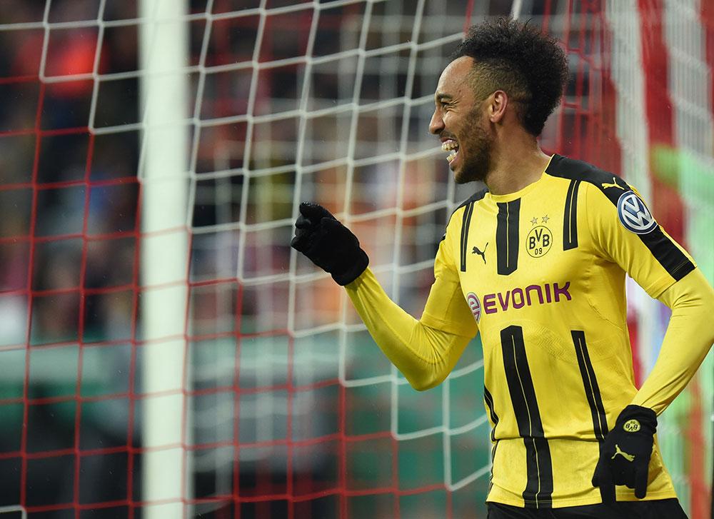 Pierre-Emerick Aubameyang celebrates during Bayern Munich-Borussia Dortmund at the Allianz Arenaon April 26, 2017. (CHRISTOF STACHE/AFP/Getty Images)