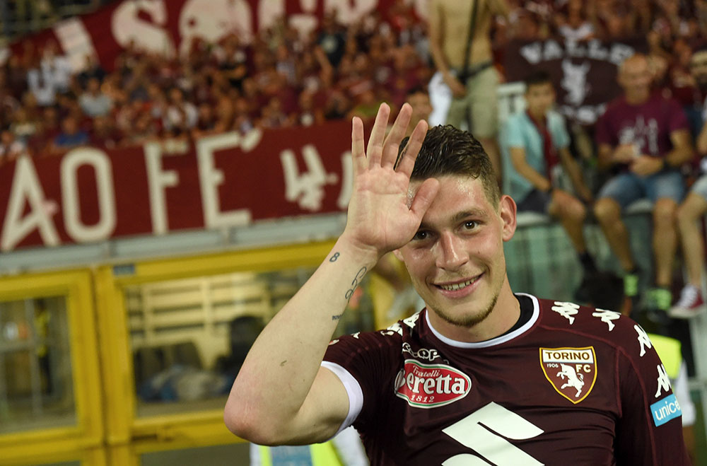Andrea Belotti celebrates at the end of Torino-Sassuolo at Stadio Olimpico di Torino on May 28, 2017. (Photo by Pier Marco Tacca/Getty Images)