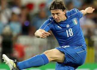 Riccardo Montolivo during Italy-Uruguay at the Allianz Riviera Stadium in Nice, on June 7, 2017. (VALERY HACHE/AFP/Getty Images)