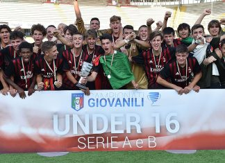 Milan U16 celebrate the victory after the U16 Serie A final Roma-Milan match on June 23, 2017 in Cesena, Italy. (Photo by Giuseppe Bellini/Getty Images)