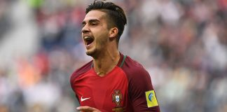 Andre Silva celebrates after scoring a goal during New Zealand-Portugal 2017 Confederations Cup match between at the Saint Petersburg Stadium in Saint Petersburg on June 24, 2017. (KIRILL KUDRYAVTSEV/AFP/Getty Images)