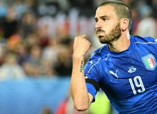 Leonardo Bonucci celebrates during the Euro 2016 Italy-Germany quarter-final match at Nouveau Stade de Bordeaux on July 2, 2016. (VINCENZO PINTO/AFP/Getty Images)