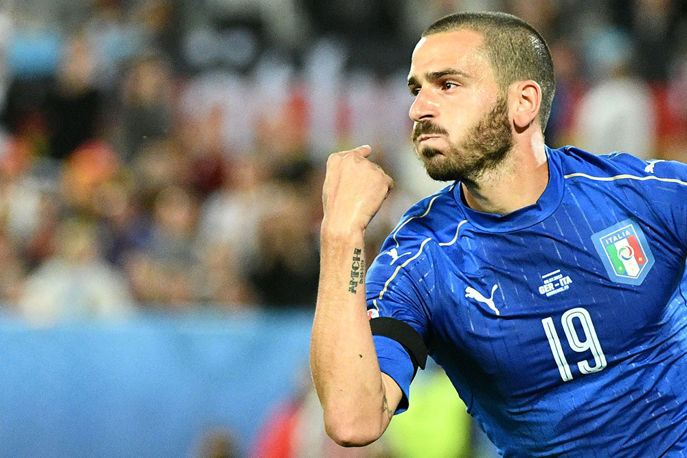 Leonardo Bonucci celebrates during the Euro 2016 Italy-Germany quarter-final match at Nouveau Stade de Bordeaux on July 2, 2016. (VINCENZO PINTO/AFP/Getty Images)