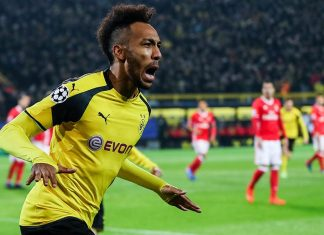 Pierre-Emerick Aubameyang celebrates during Borussia Dortmund-Benfica at Signal Iduna Park on March 8, 2017. (Photo by Maja Hitij/Bongarts/Getty Images)