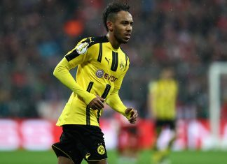 Pierre-Emerick Aubameyang during Bayern Munich-Borussia Dortmund at Allianz Arena on April 26, 2017. (Photo by Alexander Hassenstein/Bongarts/Getty Images)