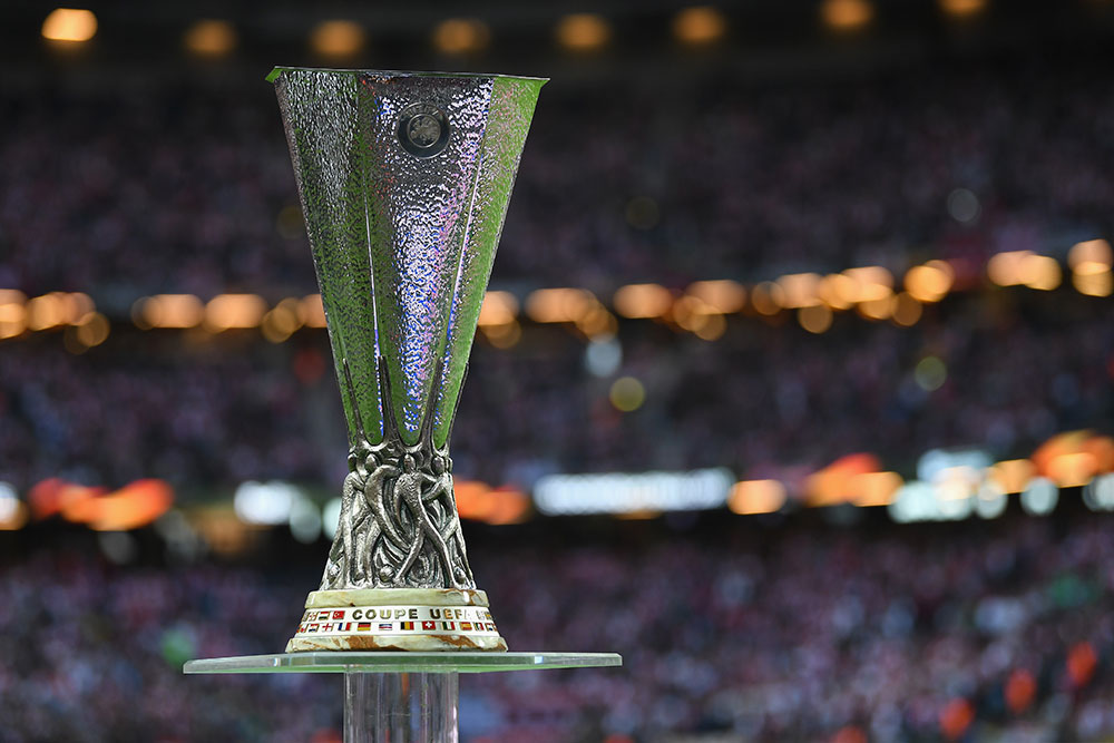 The UEFA Europa League trophy prior to the final between Ajax and Manchester United at Friends Arena on May 24, 2017. (Photo by Mike Hewitt/Getty Images)