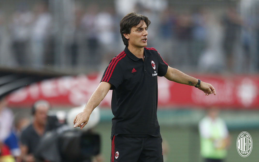 Vincenzo Montella during Lugano-Milan at the Cornaredo Stadium on the 11th of July, 2017. (@acmilan.com)