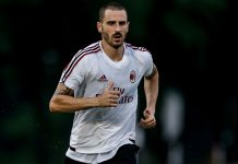 Leonardo Bonucci during Milan training. (@acmilan.com)