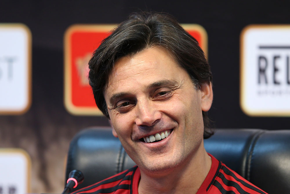 Vincenzo Montella during a press conference at University Town Sports Centre Stadium on July 15, 2017 in Guangzhou, China. (Photo by Lintao Zhang/Getty Images)