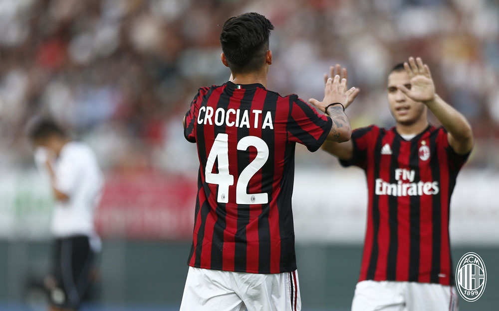 Giovanni Crociata and Jose Mauri celebrating against Lugano at the Cornaredo Stadium on the 11th of July. (@acmilan.com)
