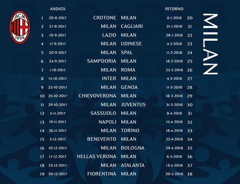 Serie A 2017 18 calendar  Milan start against Crotone 440de837f6073