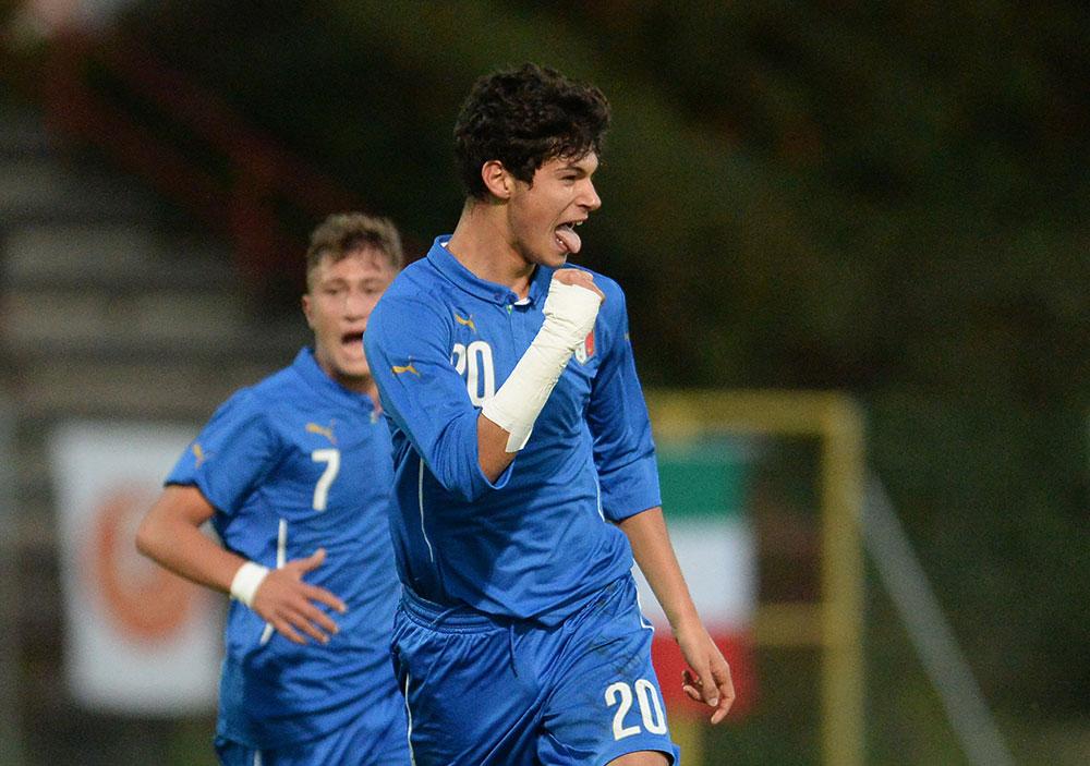 Pietro Pellegri celebrates during Italy U16-Turkey U16 at Stadio Opitergium on October 20, 2015. (Photo by Dino Panato/Getty Images)