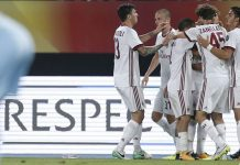 Alessio Romagnoli, Luca Antonelli, Jose Mauri, Niccolò Zanellato, André Silva and Patrick Cutrone celebrating during Shkëndija-Milan at the Philip II Arena on the 24th of August, 2017. (@acmilan.com)
