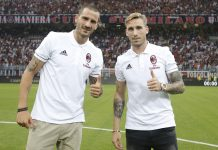 Leonardo Bonucci and Lucas Biglia before Milan-Craiova at Stadio San Siro on the 3rd of August, 2017. (@acmilan.com)